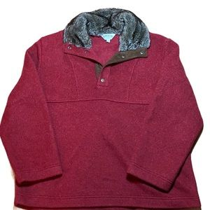 Orvis Red Pullover with Faux Fur Collar size XL